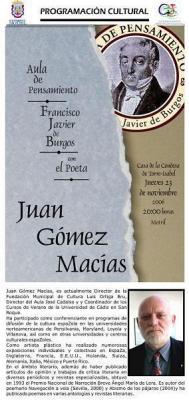 Juan Gómez Macías habla de Francisco Javier de Burgos en la Casa de la Condesa Torre Isabel de Motril