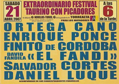 José Ortega Cano, El Fandi, Enrique Ponce, Finito de Córdoba, Salvador Cortés y Daniel Luque en el festival taurino a beneficio de la Asociación síndrome Down