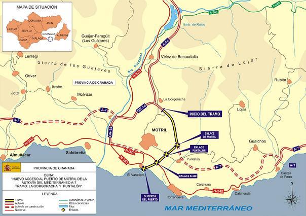 Fomento destina 54,7 millones de euros a las obras del tramo La Gorgoracha-El Puntalón de la A-7, en Granada