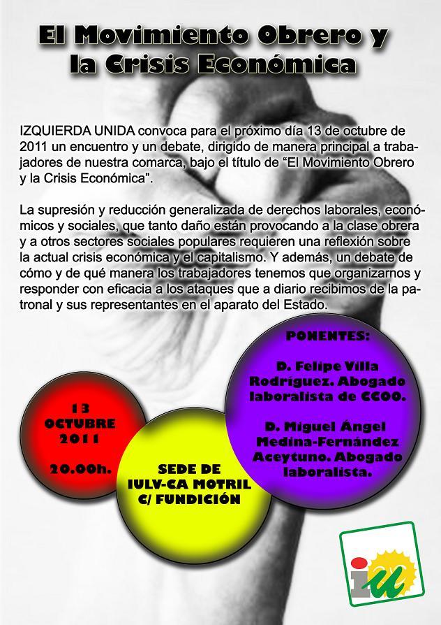 El movimiento obrero y la crisis económica tema de debate en IU de Motril