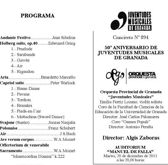Juventudes Musicales de Granada celebra su 50 aniversario