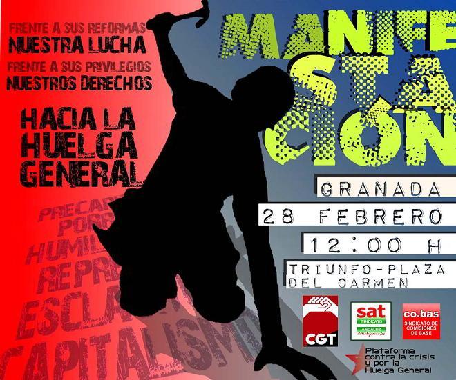 CGT, SAT y CO.BAS convocan una manifestación para el 28-F para protestar por la Reforma Laboral