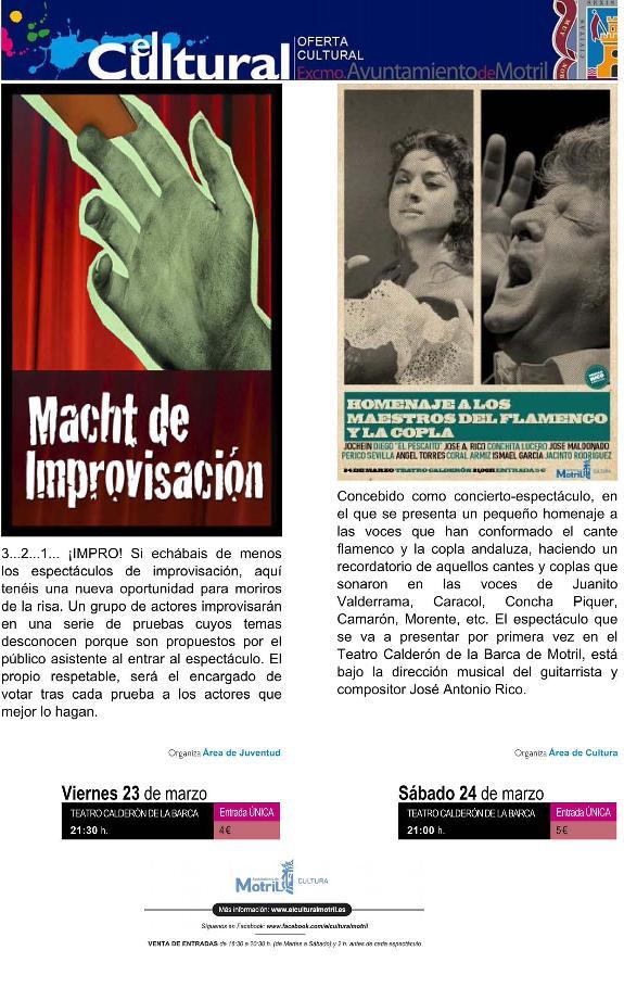 Teatro y Flamenco en el fin de semana cultural de Motril