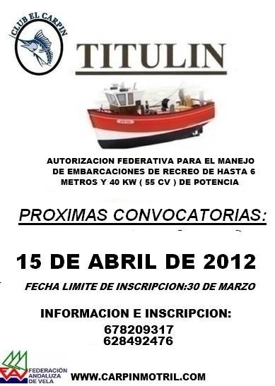 Curso en Motril para patronear embarcaciones de hasta 55 CV de potencia