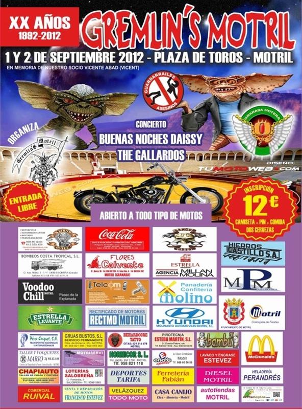 La Peña Mototurística Gremlin's Motril celebra su XX aniversario con un homenaje póstumo a su socio Vicente Abad