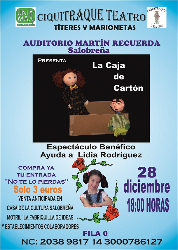 La Compañía CIQUITRAQUE TEATRO actuará el 28 en el auditorio de Salobreña