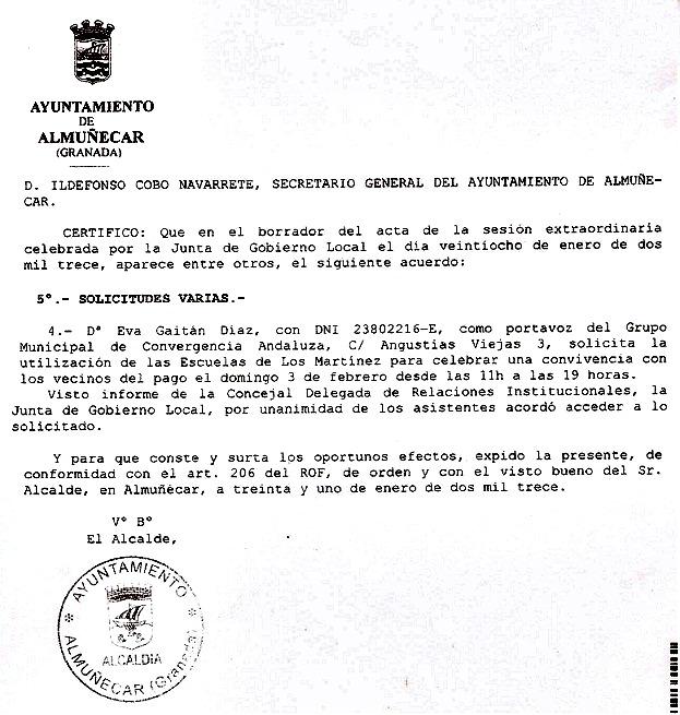 El equipo de gobierno del Ayuntamiento de Almuñécar SI accedió a la petición de CA de utilización del Centro Rural de Rio Seco