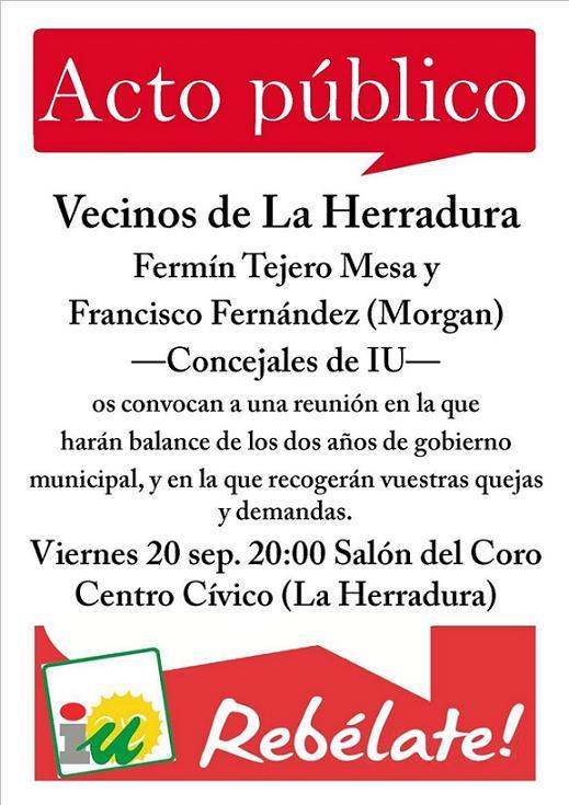Los concejales de IU responderán este viernes en la Herradura