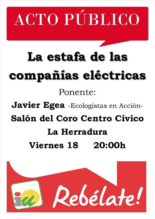 IU organiza una charla titulada La estafa de las compañías eléctricas