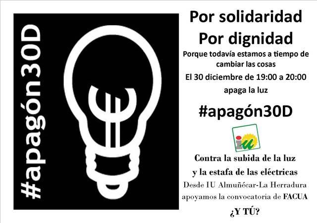 IU de Almuñécar se suma al apagón del 30 de diciembre, a las 19 horas, contra las subidas de la luz