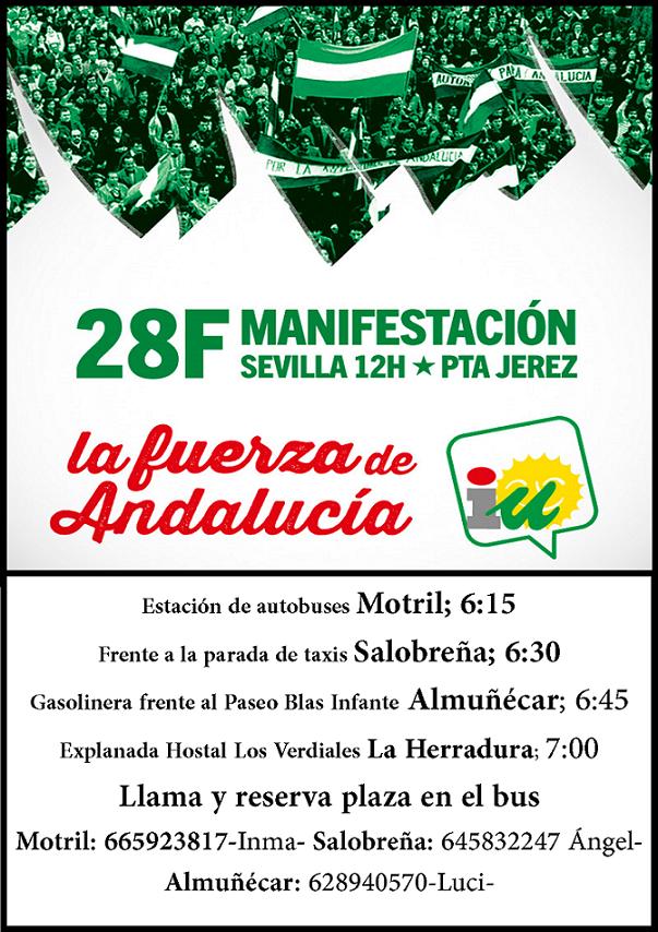 IU Almuñécar- Motril, llama a la movilización del 28-f en Sevilla