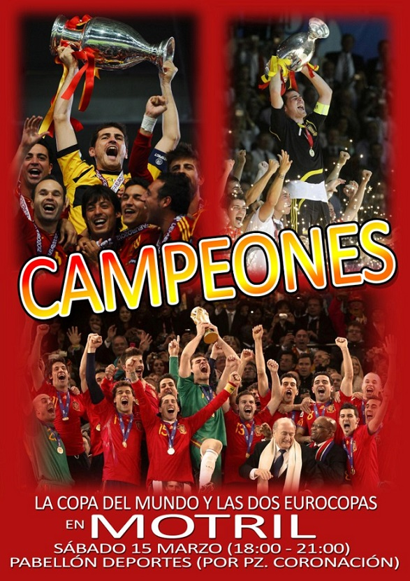 La copa del Mundo y las dos Eurocopas de 'La Roja' llegan este sábado a Motril