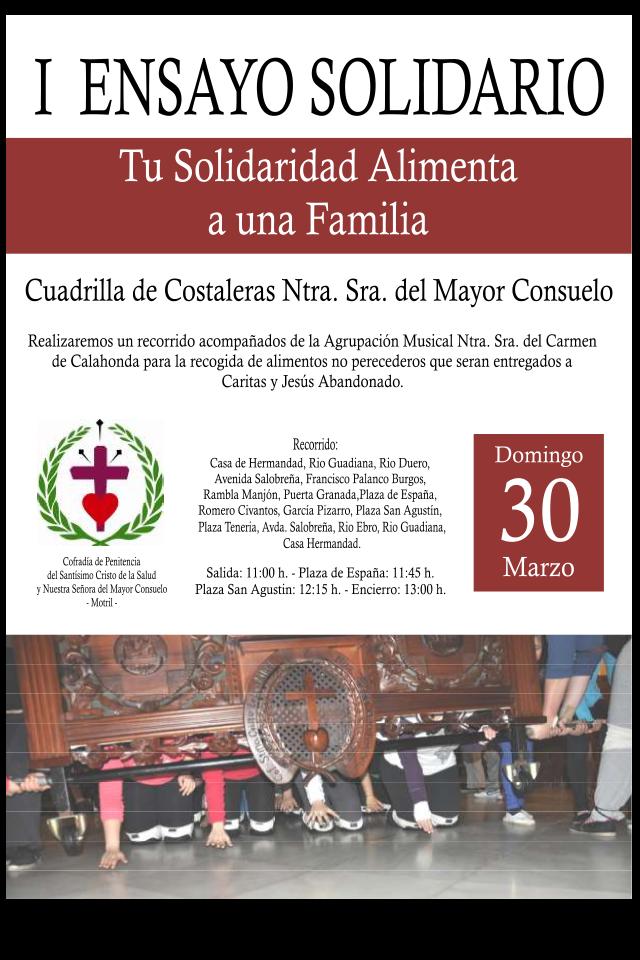 """I Ensayo Solidario en Motril: """"Tu Solidaridad Alimenta a una Familia"""""""