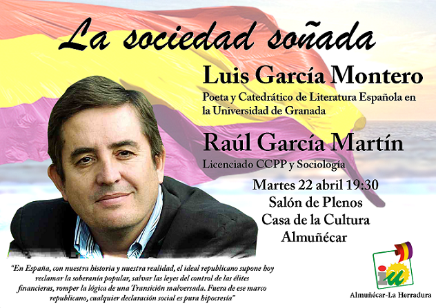 IU organiza un acto público en el que contará con el poeta y Catedrático, Luis García Montero