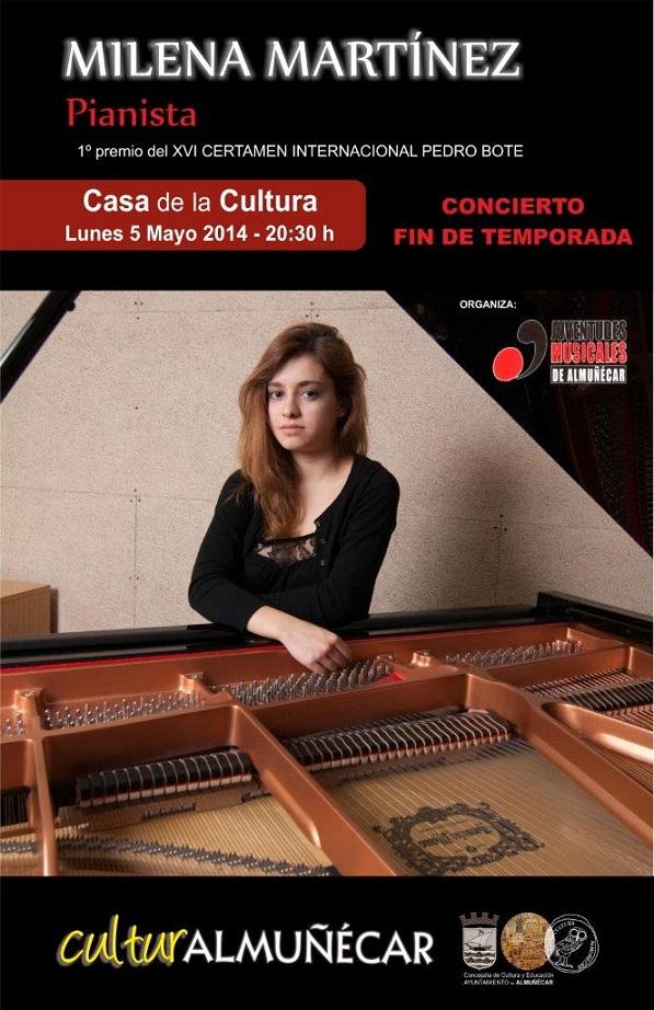 La pianista Milena Martínez ofrece un concierto este lunes en Almuñécar