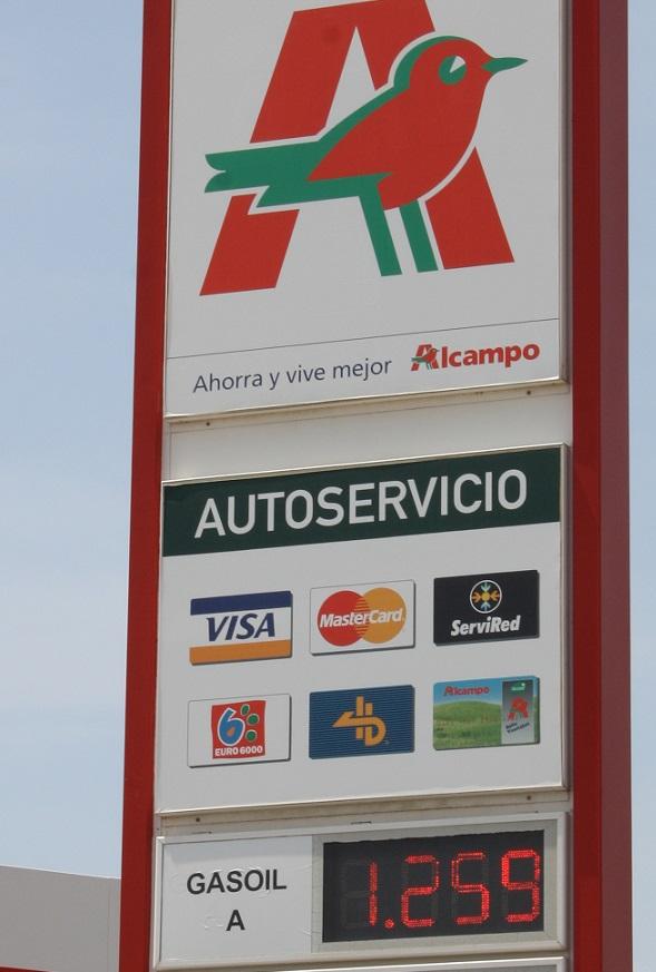 La gasolinera Alcampo Motril sigue siendo la más barata de la costa. Hoy a 1,259 euros el litro de gasoil