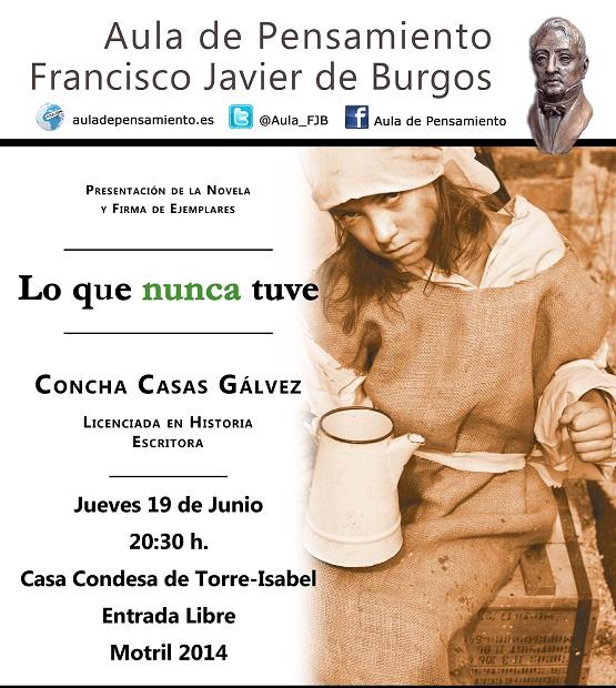"""Concha Casas presenta en el Aula de Pensamiento """"Lo que nunca tuve"""""""