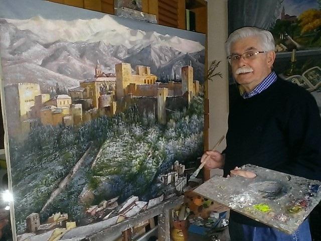 El pintor motrileño Antonio Rodríguez Pineda entrega una de sus obras a la Casa de Granada en Madrid