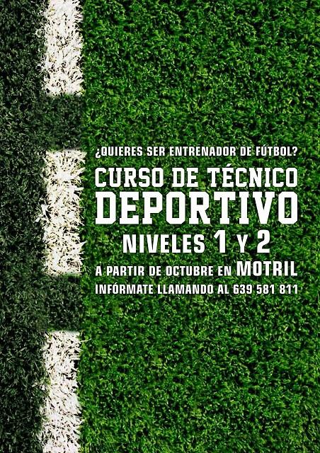 Se abre el plazo de inscripción en Motril para Técnico Deportivo Nivel 1y Nivel 2 en Fútbol