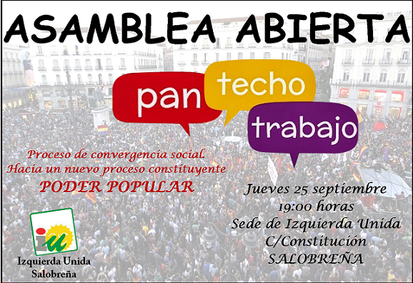 """Asamblea de IU Salobreña con el lema """"Pan, techo y trabajo"""""""