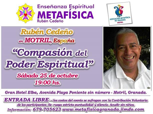 "Rubén Cedeño hablará este sábado en Motril sobre ""Compasión del Poder Espiritual"""