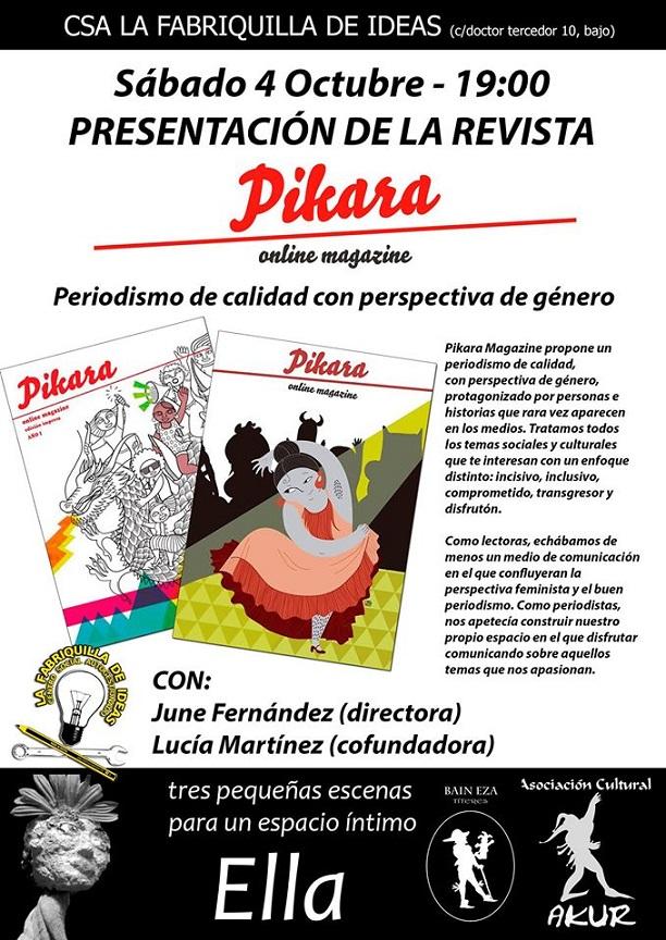 """La Revista Pikara se presenta mañana sábado en el centro social autogestionado """"La fabriquilla de Ideas"""""""