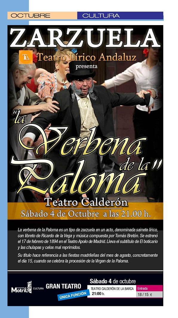 Hoy en el Teatro Calderón de Motril, La zarzuela más popular, La Verbena de la Paloma