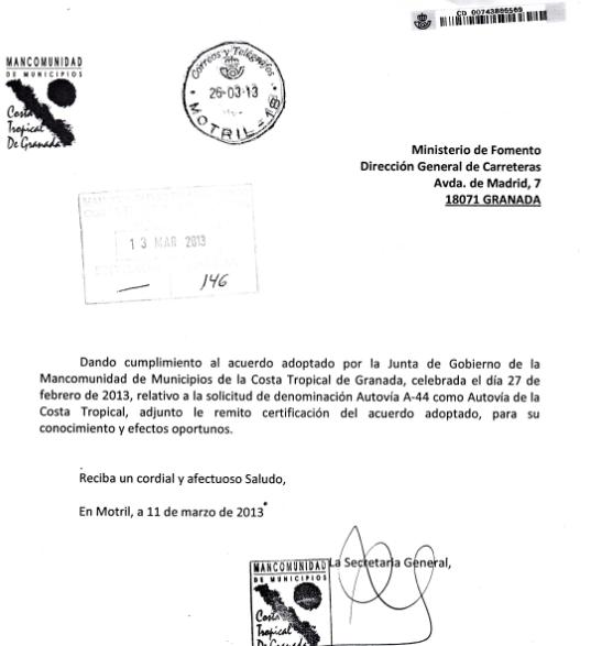 La Mancomunidad felicita a la ministra de Fomento por nombrar la A-44 Sierra Nevada Costa Tropical