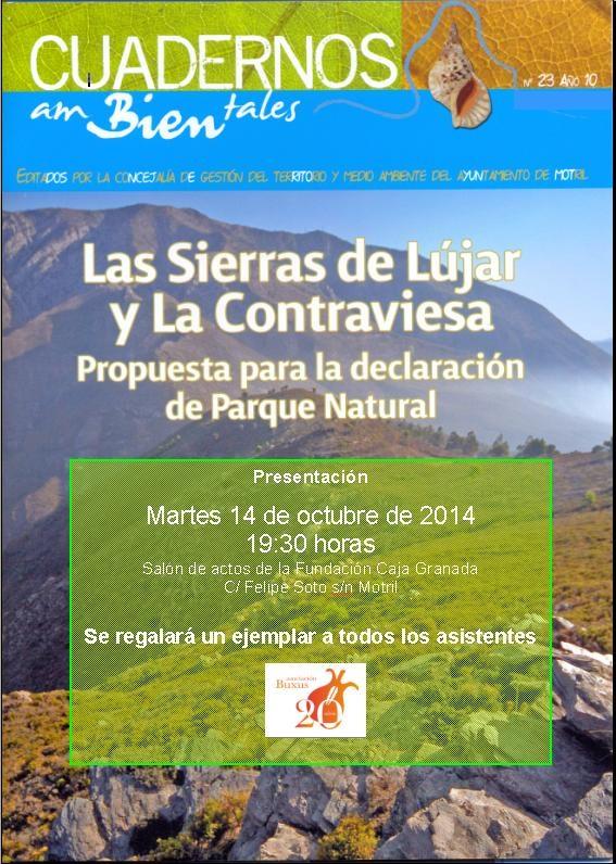 Presentación cuaderno ambiental de Buxus, sobre propuesta Sierra de Lújar