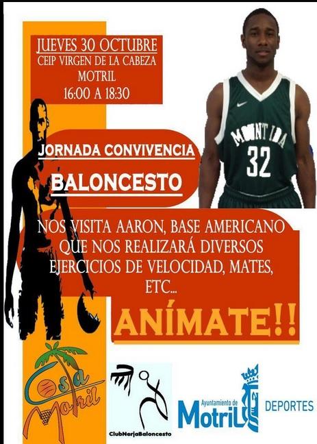 El jugador de baloncesto americano Aarón dará una exhibición el 30 en CEIP Virgen de la Cabeza