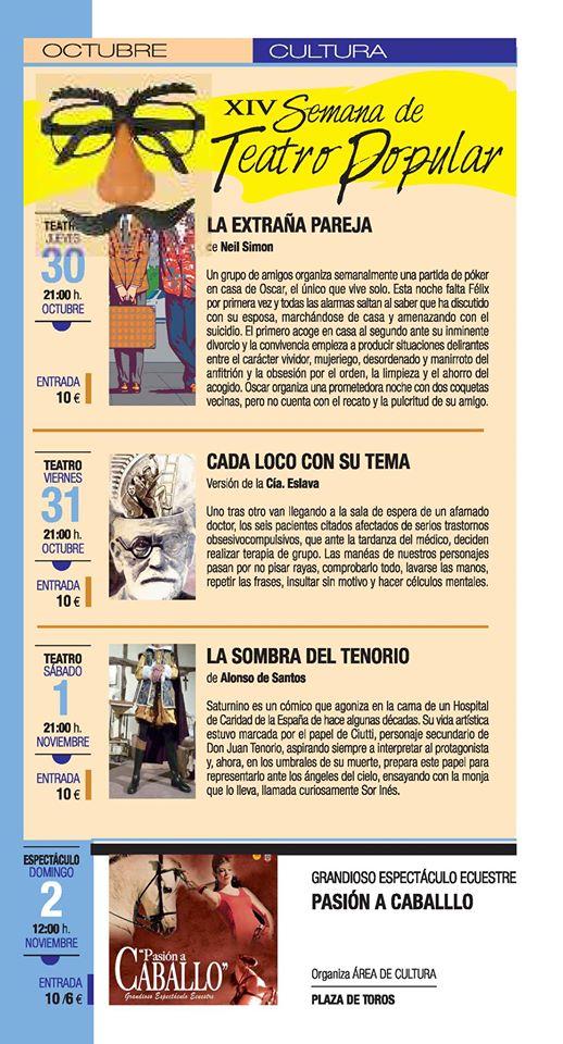 """""""La extraña pareja, """"Cada loco con su tema"""" y """" La sombra del tenorio"""" en el Teatro Calderón"""