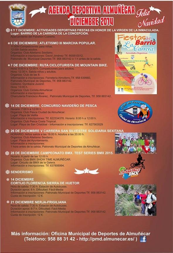 Programación deportiva de diciembre en Almuñécar